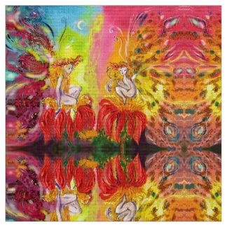 FLOWER FAIRIES OF DAWN Red Yellow Fantasy Fabric