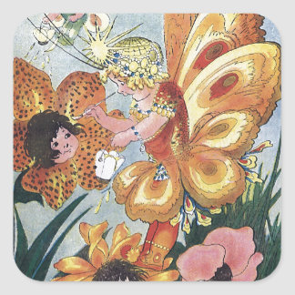 Flower Fairy Painting Tigerlily Square Sticker