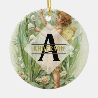 Flower Fairy Snowbells Vintage Art Monogram Named Ceramic Ornament