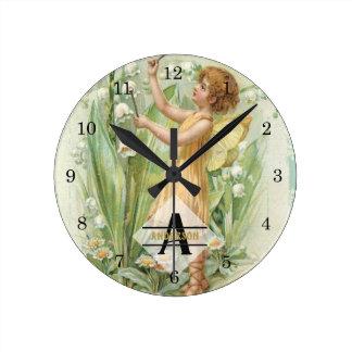 Flower Fairy Snowbells Vintage Art Monogram Named Round Clock
