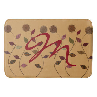 Flower Fall Floral Daisies Monogrammed Bathroom Mat