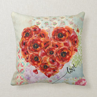 Flower-filled heart & pastel collage background throw pillow