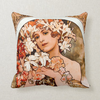 Flower, Fine Art Alphonse Mucha Throw Pillow