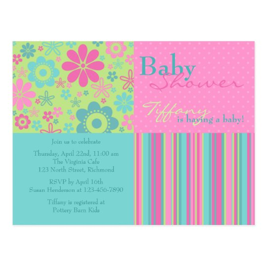 Flower Fizz Pink & Blue • Baby Shower Invitation Postcard