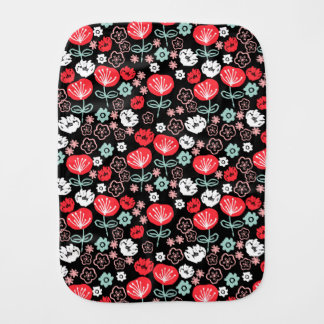 Flower - Floral Black Mint Pink / Andrea Lauren Burp Cloth
