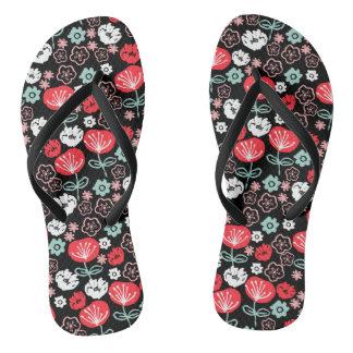 Flower - Floral Black Mint Pink / Andrea Lauren Flip Flops