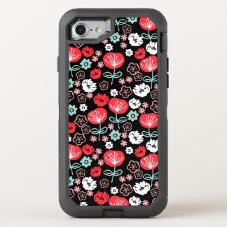 Flower - Floral Black Mint Pink / Andrea Lauren OtterBox Defender iPhone 7 Case