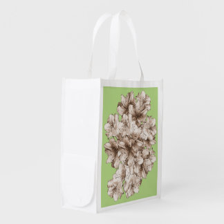 Flower Floral Drawing Coffee Brown Illustrated Grocery Bags
