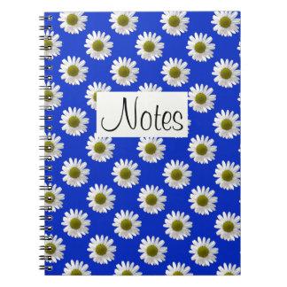 Flower floral print daisies on cobalt blue notebook