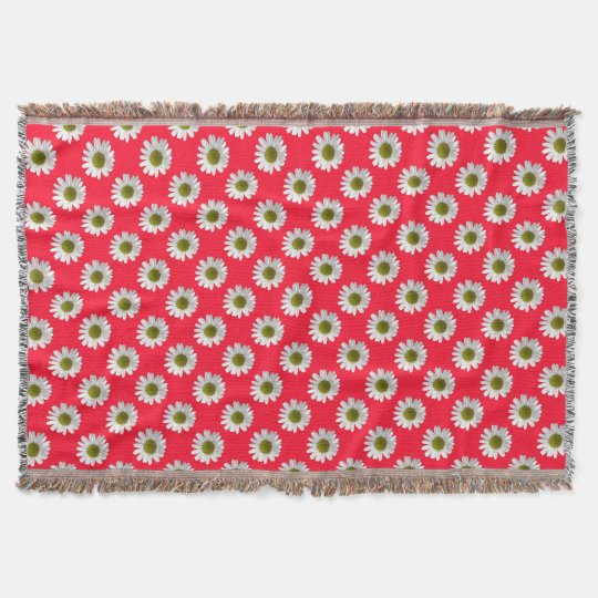Flower floral print daisies on red pink throw