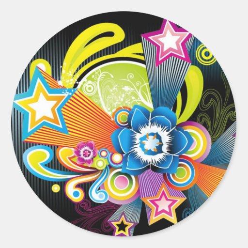 FLOWER FLORAL STARS SWIRLS SHAPES HIPPIE SURF STYL ROUND STICKER