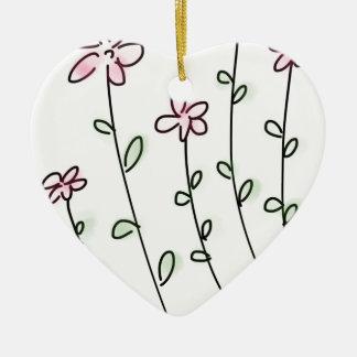 flower flowers custom personalize Anniversaries Ceramic Heart Ornament