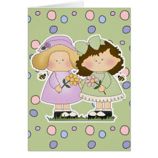 Flower Friends Girls Greeting Card