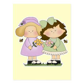 Flower Friends Girls Postcard
