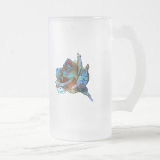 Flower Frosted Glass Beer Mug