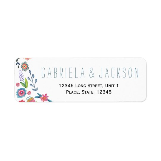 Flower Fun Wedding | Return Address Labels