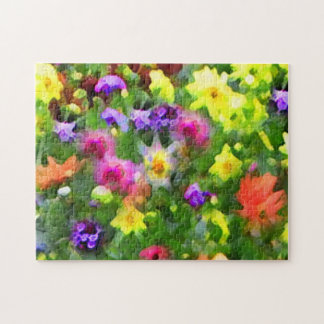 Flower Garden Abstract Green Floral Puzzle