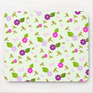Flower Garden and Dragonfly Mouse Pad