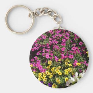 Flower-garden Basic Round Button Keychain