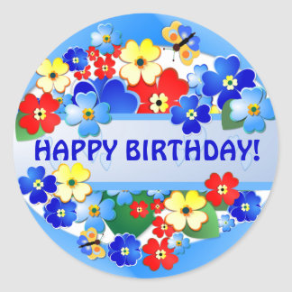Flower Garden ~ Birthday Sticker