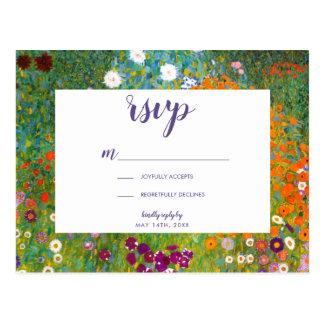 Flower Garden by Gustav Klimt Floral RSVP Postcard