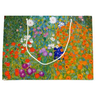 Flower Garden by Gustav Klimt Vintage Floral Large Gift Bag