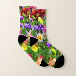 Flower Garden Floral Abstract Pattern Socks 1