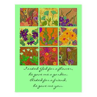 flower garden friendship greeting postcard