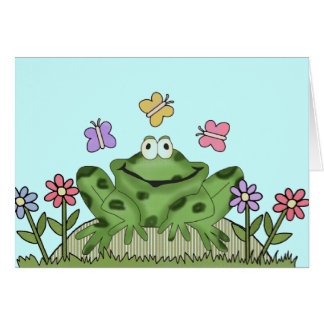 Flower Garden Frog T-shirts and Gifts Card