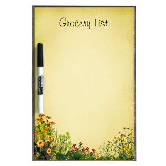 Flower Garden Grocery List Dry Erase Board