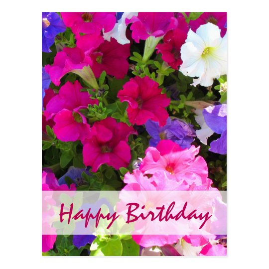 flower garden happy birthday postcard
