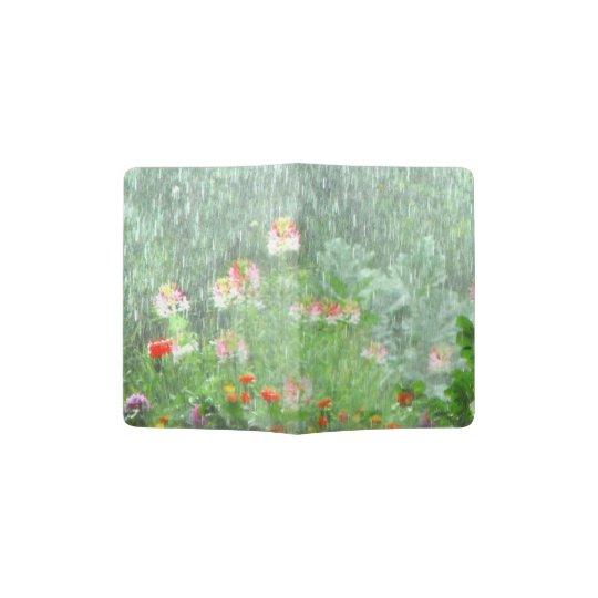 Flower Garden in Rain Green Passport Holder