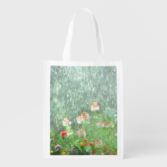 Flower Garden in Rain Reusable Grocery Bag