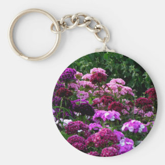 Flower Garden in summer Basic Round Button Keychain