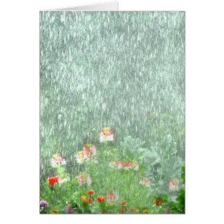 Flower Garden in the Rain Blank Card
