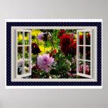 Flower Garden, Kitchen Window, Dahlias Poster