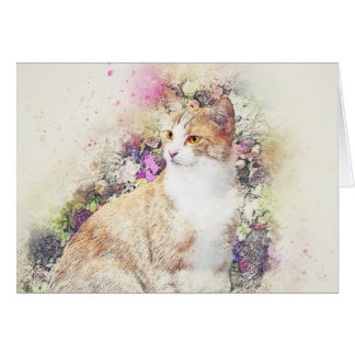 Flower Garden Kitty | Abstract | Watercolor Card