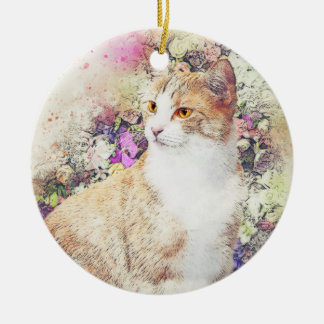 Flower Garden Kitty | Abstract | Watercolor Ceramic Ornament