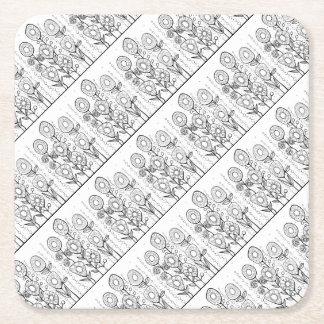 Flower Garden Line Art Design Square Paper Coaster