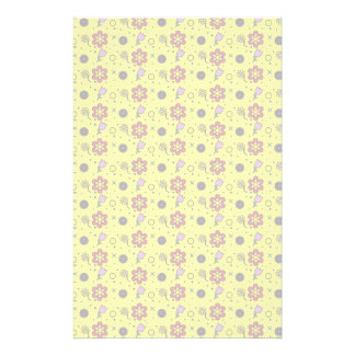 Flower Garden - On Yellow Stationery Paper