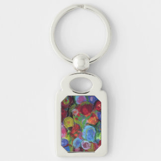 Flower Garden Silver-Colored Rectangle Keychain