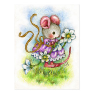 Flower Garland - Cute Mouse Art Postcard