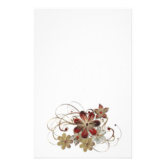 Flower gem print stationary stationery