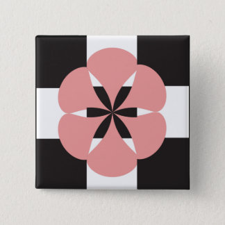Flower geometry 2 inch square button