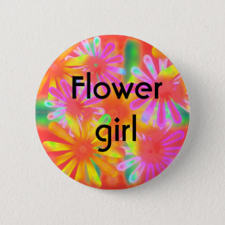 flower girl 2 inch round button