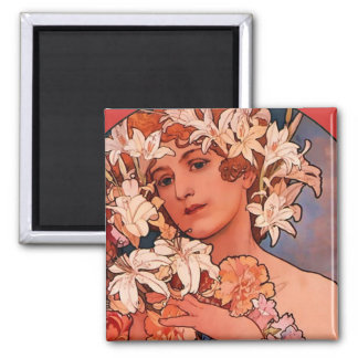 Flower Girl Art Nouveau Magnet