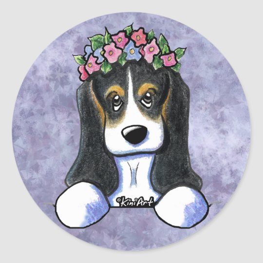 Flower Girl Basset Hound Classic Round Sticker