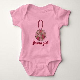 Flower Girl Bridesmaid Pink Rose Wedding Bouquet Baby Bodysuit