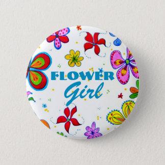 Flower Girl Button/Pin 2 Inch Round Button