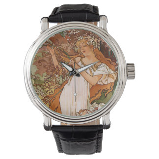 Flower Girl by Alphonse Mucha Wristwatches
